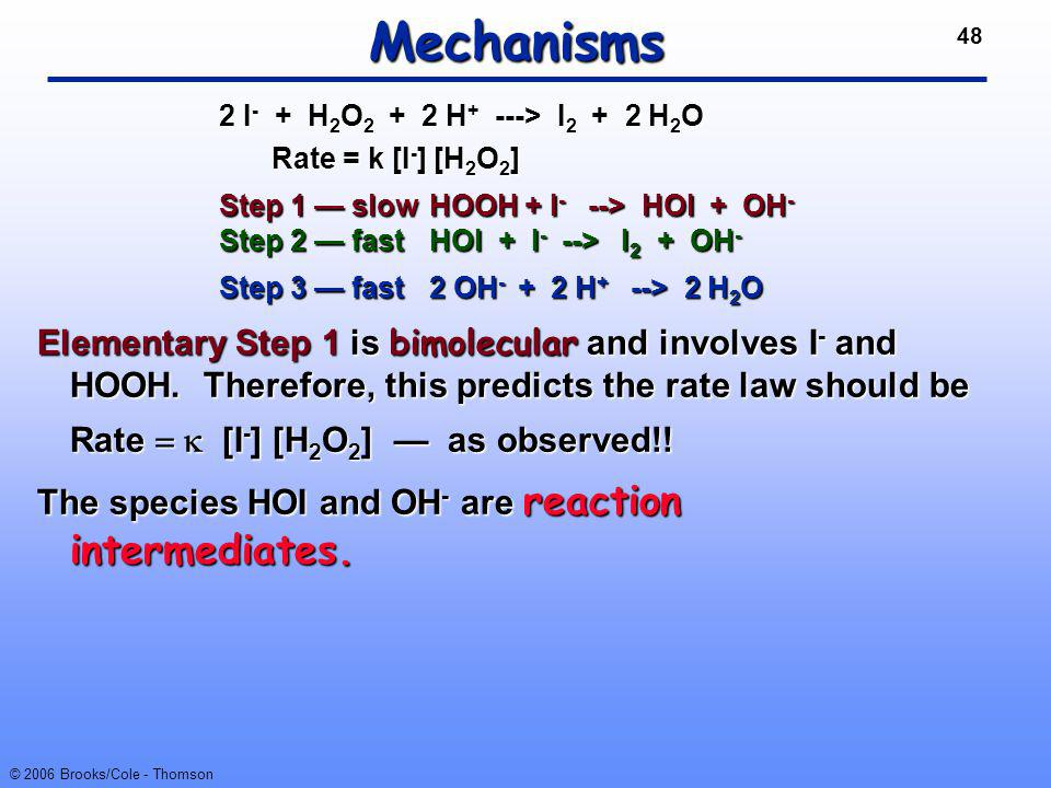 Mechanisms 2 I- + H2O2 + 2 H+ ---> I2 + 2 H2O. Rate = k [I-] [H2O2]
